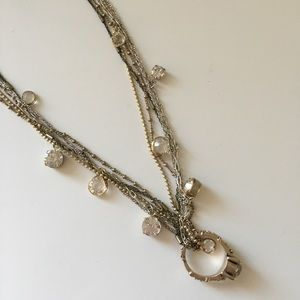 LOFT Rhinestone and Pink Ring Long Necklace